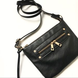 ASOS Black & Gold Faux Leather Crossbody Bag